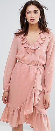 Y.A.S. Tall Rosa Midi-Wickelkleid mit Rüschen und Punktmuster