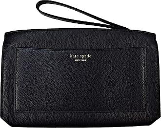 Kate Spade New York Kate Spade New York Large Eva Wristlet Wallet Clutch Black Warm Beige Leather WLRU5360 $189.00