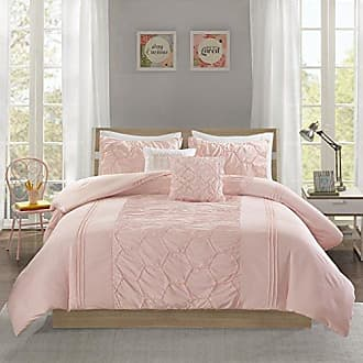 INTELLIGENT DESIGN Carrie Comforter Set Twin/Twin XL Size - Blush, Pleated Elastic Embroidery - 4 Piece Bed Sets - Ultra Soft Microfiber Teen Bedding for Girls Bedroom