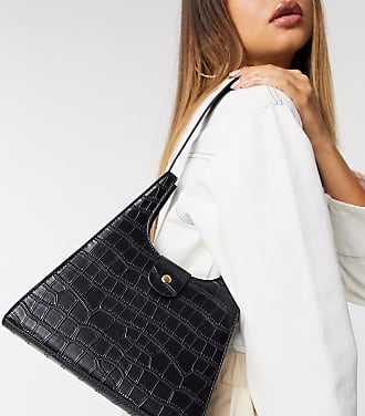 Glamorous Exclusive boxy mini shoulder bag in black croc