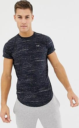 Hollister T-Shirt in Anthrazit meliert mit Logo und abgerundetem Saum-Grau