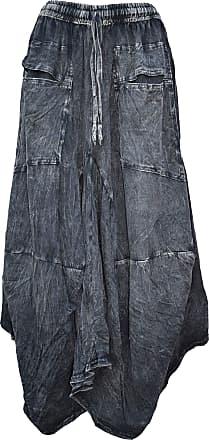 Gheri Womens Cotton Distressed Open Pocket Hi Low Skirt Black