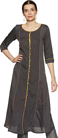 Aurelia Womens Cotton A-Line Kurta (19FEA10706-700143_ Grey_ Small)
