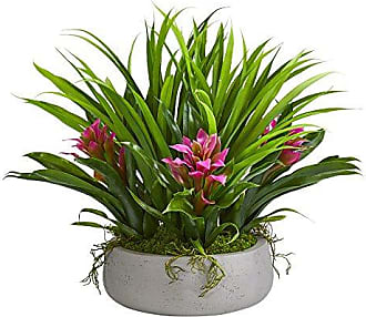 Nearly Natural 8050-PP 16 Bromeliad & Grass Ceramic Vase Artificial Plant, Purple