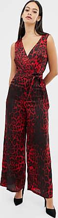 Unique21 Unique21 red leopard print v neck jumpsuit with tie belt-Multi