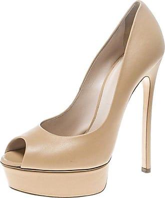 2232f833077 Casadei Beige Leather Peep Toe Platform Pumps Size 39