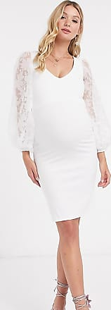 Queen Bee Maternity lace organza puff sleeve bodycon dress in white