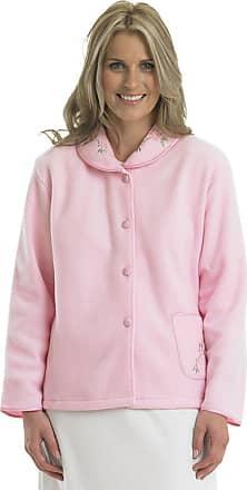 Slenderella Ladies Soft Polar Fleece Button Up Bed Jacket Floral Embroidered Detail House Coat UK 10/12 (Pink)