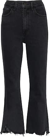 3x1 frayed hem flared jeans - Black