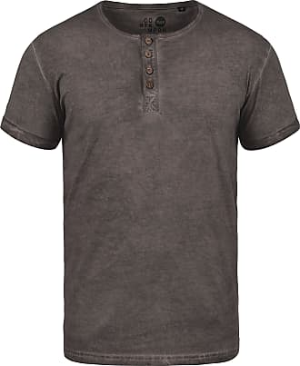 Solid Tihn Mens T-Shirt Short Sleeve Shirt Tee with Grandad Collar Made of 100% Cotton, Size:M, Colour:Coffee Bean (5973)