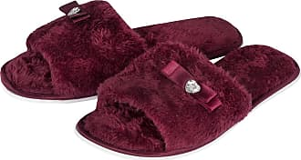 Forever Dreaming Laides Womens Open Toe Slippers Memory Foam Slip On Flat Jewel Indoor Faux Fur Burgundy 7-8