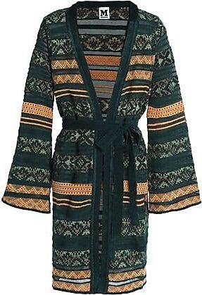 edca99dc3d82d M Missoni M Missoni Woman Belted Crochet-knit Cardigan Dark Green Size 44