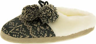 Footwear Studio Four Seasons Womens Grey Fair Isle Mule Slippers UK 5-6