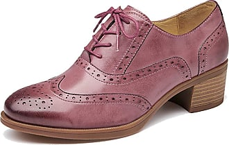 MGM-Joymod Womens Girl Casual Vintage Lace-up Comfort Thick Heel Perforated Wingtip Brogues Oxford Work Office School Dress Shoes (Pink) 5 M UK