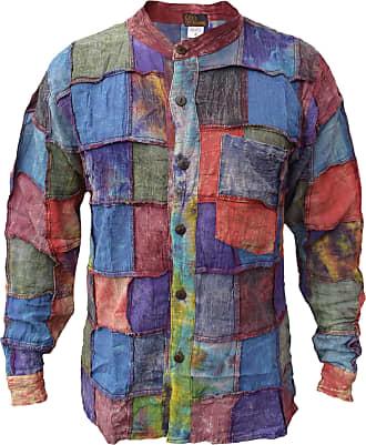 Gheri Mens Tie Dye Stonewashed Patch Cotton Grandad Shirt Full Sleeve Small