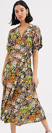 Whistles exclusive floral print wrap midi dress-Multi