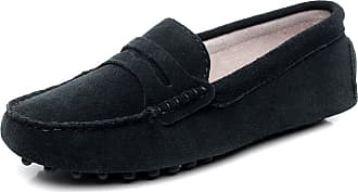 Jamron Womens Classic Suede Penny Loafers Comfort Handmade Slipper Moccasins Black 24208 UK6.5