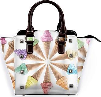Browncin Ice Cream Cones With Various Flavors Forming Row Summer Season Picture Print Detachable Fashion Trend Ladies Handbag Shoulder Bag Messenger Bags