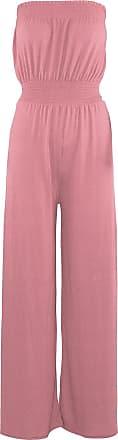 Be Jealous Womens Ladies Sheering Boobtube Bandeau Flare Wide Leg Palazzo Playsuit Jumpsuit Rose