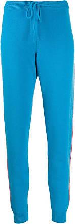 Chinti and Parker Calça de cashmere com detalhe de listra - Azul