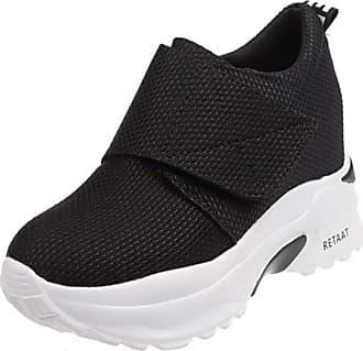 RAZAMAZA Women Fashion High Heel Trainers Platform Shoes Velcro Sneakers Wedge Heel Daily Shoes Round Toe Black Size 38 Asian