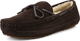Dream Pairs Mens Au-Loafer-02 Brown Faux Fur Slippers Loafers Shoes Size 12 US/ 11 UK