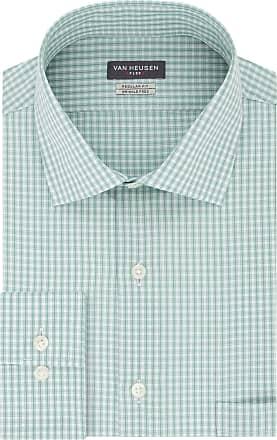 Van Heusen Mens Regular Fit Flex Collar Check Dress Shirt, Vert, XXL (Neck 45 cm Sleeve 81/84 cm)