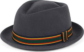 Hat To Socks Stylish Grey Wool Pork Pie Hat Waterproof & Crushable, Handmade in Italy (Grey, 57 cm)