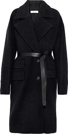 Iro Iro Woman Belted Leather-trimmed Wool-blend Felt Coat Charcoal Size 42