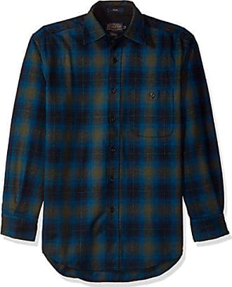 Pendleton Mens Long Sleeve Button Front Classic-Fit Trail Shirt, Peacock Ombre-31961, SM