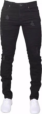Enzo Jeans Men Skinny Slim Tapered Fit Ripped Biker Style Stretchable Denim Jeans (32R, Black)