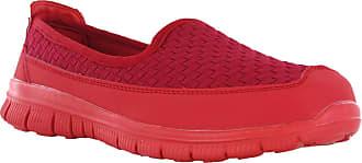 Cushion-Walk Womens Slip On Soft Foam Sole Comfort Plimsolls Summer Shoes Pumps (UK 5, Red)