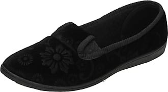 Spot On Ladies Quality Slippers Flower Pattern Slippers - Black Textile - UK Size 3 - EU Size 36 - US Size 5