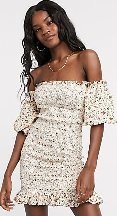 Topshop shirred bardot mini dress in ivory floral-Beige