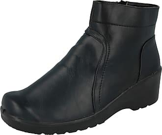 Cushion-Walk Womens Ladies Faux Suede Lightweight Low Wedge Warm Casual Comfort Zip Fasten Winter Ankle Boots UK Sizes 3-8 (4 UK, Black)