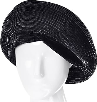 Dior 1960s Vintage Christian Dior Chapeaux Turban Style Beret Hat Black  Coated Straw 1ac2a0b35216