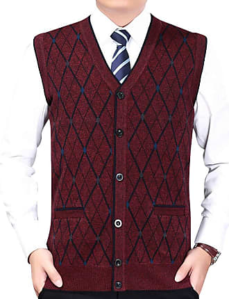 Yonglan Mens Diamond Pattern Knitted Vest Cardigans V-Neck Sleeveless Button Waistcoat Knitwear Tank Tops with Pockets Wine Red XXL