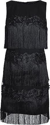 Badgley Mischka Badgley Mischka Woman Fringed Embroidered Tulle Dress Black Size 10