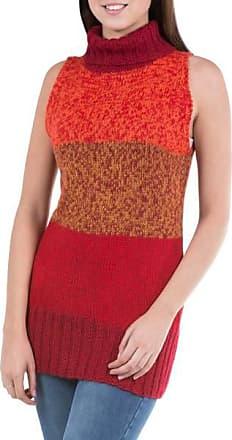 Novica 100% alpaca sweater vest, Crimson Wonder