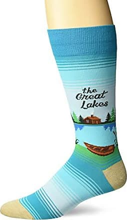 Hot Sox Mens Travel Series Novelty Crew Socks, the the Lakes (Turquoise), Shoe Size: 6-12