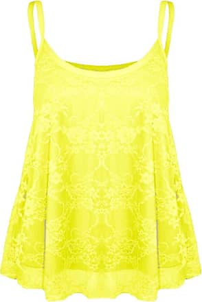 New Womens Ladies Sleeveless Neon Lace Trim Flared Thin Strappy Swing Vest Top