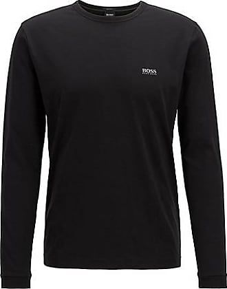 BOSS Long-sleeved cotton T-shirt with rubberised shoulder logo