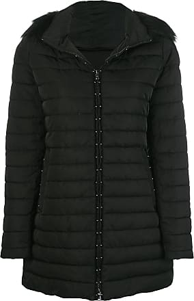 Emporio Armani faux fur trim hooded padded coat - Black