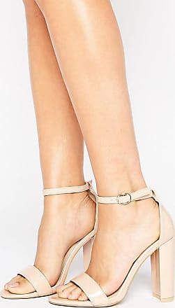 Glamorous Patent Barely There Block Heeled Sandals-Beige