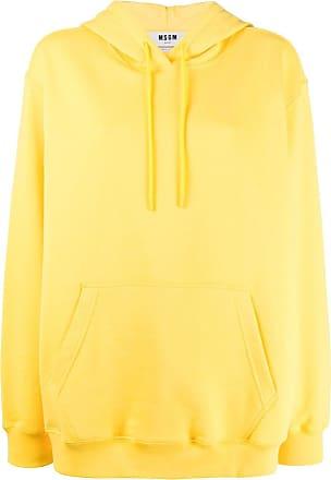 Msgm oversized logo print hoodie - Yellow