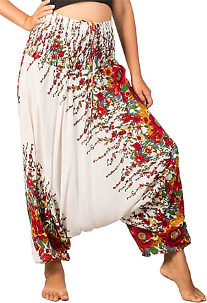 Lofbaz Womens Floral Printed Smock Waist 2 in 1 Jumpsuit Pants White & Red L