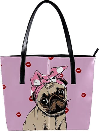 Nananma Womens Bag Shoulder Tote handbag with Red Lips And Pug Wearing Bow Print Zipper Purse PU Leather Top-handle Zip Bags