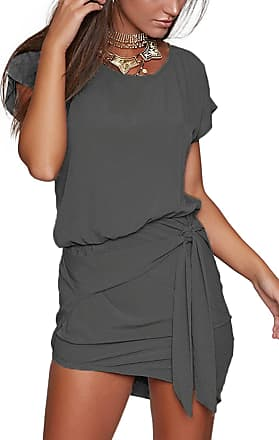 Yoins Women Mini Dress Summer Round Neck Short Sleeves Self-tie Waist Casual Summer Dresses for Ladies Dark Grey UK 14-16