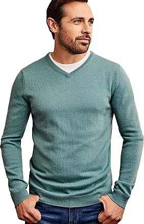 WoolOvers Mens Cashmere and Merino V Neck Jumper Blue Lagoon, XXL