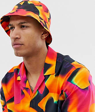 Asos two-piece bucket hat in neon warped ombre print - Black